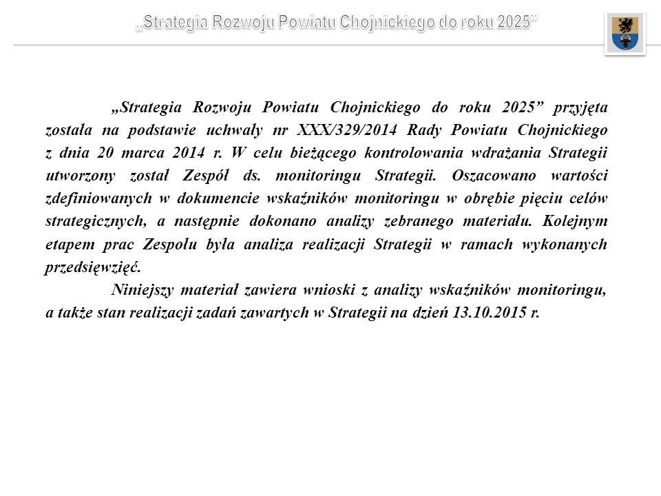 """""""Strategia Rozwoju Powiatu Chojnickiego do roku 2025"""" przyjęta została na podstawie uchwały nr XXX/329/2014 Rady Powiatu Chojnickiego z dnia 20 marca"""