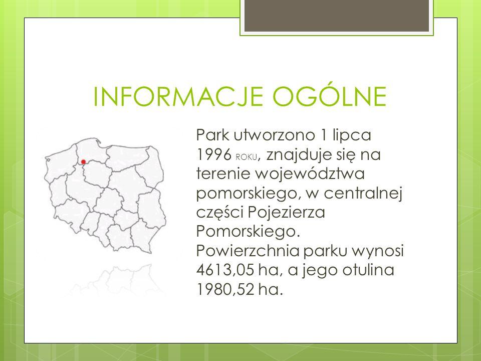 INFORMACJE OGÓLNE Park utworzono 1 lipca 1996 ROKU, znajduje się na terenie województwa pomorskiego, w centralnej części Pojezierza Pomorskiego. Powie