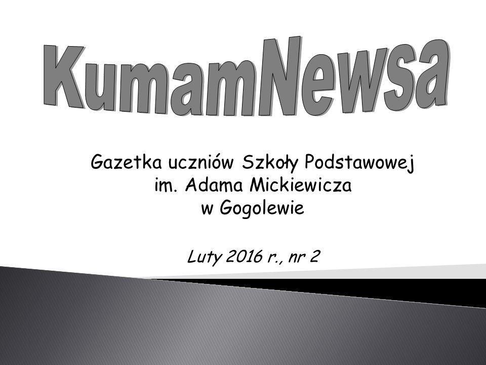 Gazetka uczniów Szkoły Podstawowej im. Adama Mickiewicza w Gogolewie Luty 2016 r., nr 2