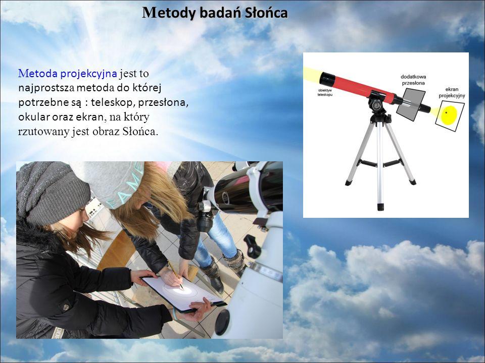 M etody badań Słońca M etoda projekcyjna jest to najprostsz a metod a do której potrzebne są : teleskop, przesłona, okular oraz ekran, na który rzutowany jest obraz Słońca.