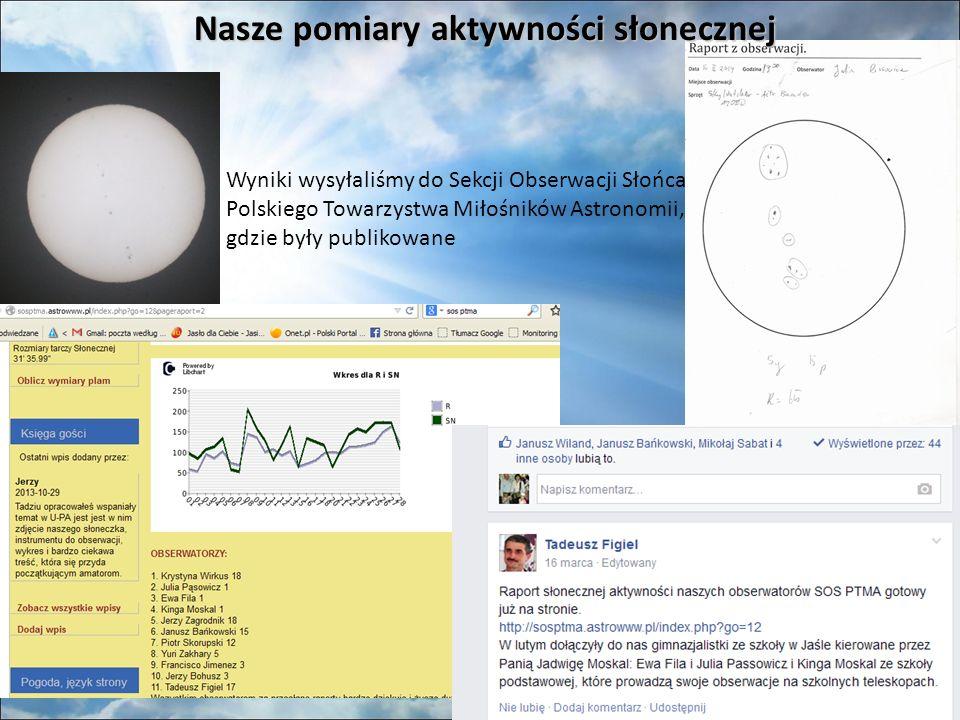 Nasze pomiary aktywności słonecznej Wyniki wysyłaliśmy do Sekcji Obserwacji Słońca Polskiego Towarzystwa Miłośników Astronomii, gdzie były publikowane