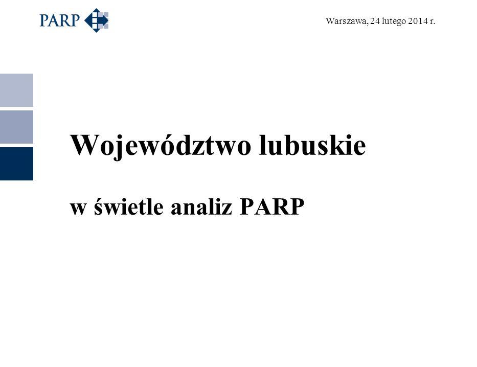 Warszawa, 24 lutego 2014 r. Województwo lubuskie w świetle analiz PARP