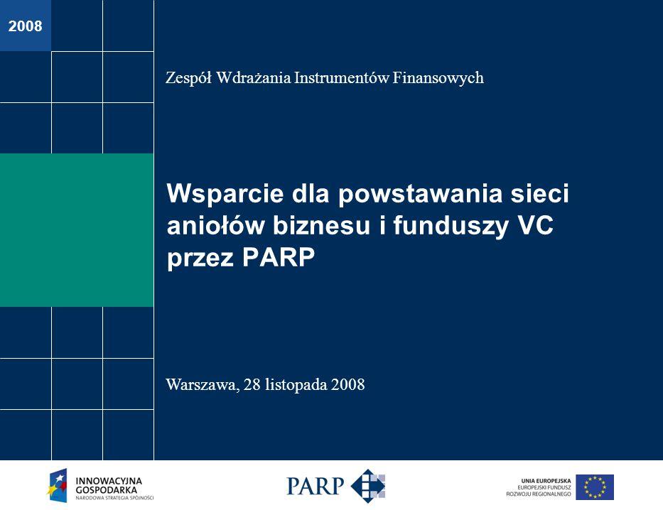 2008 Wsparcie dla powstawania sieci aniołów biznesu i funduszy VC przez PARP Zespół Wdrażania Instrumentów Finansowych Warszawa, 28 listopada 2008