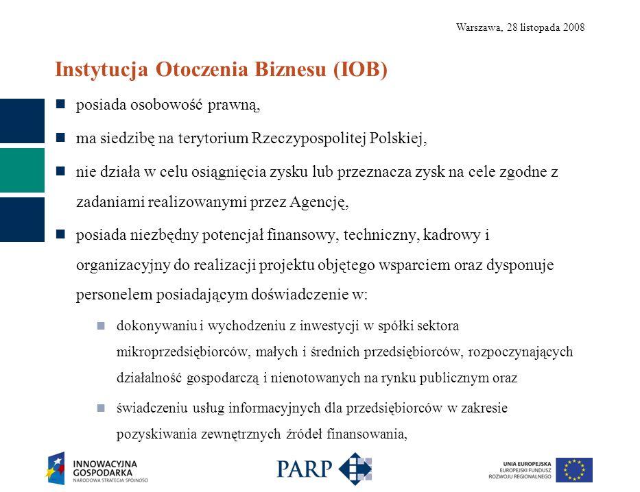 Warszawa, 28 listopada 2008 Instytucja Otoczenia Biznesu (IOB) posiada osobowość prawną, ma siedzibę na terytorium Rzeczypospolitej Polskiej, nie działa w celu osiągnięcia zysku lub przeznacza zysk na cele zgodne z zadaniami realizowanymi przez Agencję, posiada niezbędny potencjał finansowy, techniczny, kadrowy i organizacyjny do realizacji projektu objętego wsparciem oraz dysponuje personelem posiadającym doświadczenie w: dokonywaniu i wychodzeniu z inwestycji w spółki sektora mikroprzedsiębiorców, małych i średnich przedsiębiorców, rozpoczynających działalność gospodarczą i nienotowanych na rynku publicznym oraz świadczeniu usług informacyjnych dla przedsiębiorców w zakresie pozyskiwania zewnętrznych źródeł finansowania,