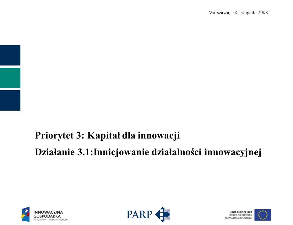 Warszawa, 28 listopada 2008 Priorytet 3: Kapitał dla innowacji Działanie 3.1:Innicjowanie działalności innowacyjnej