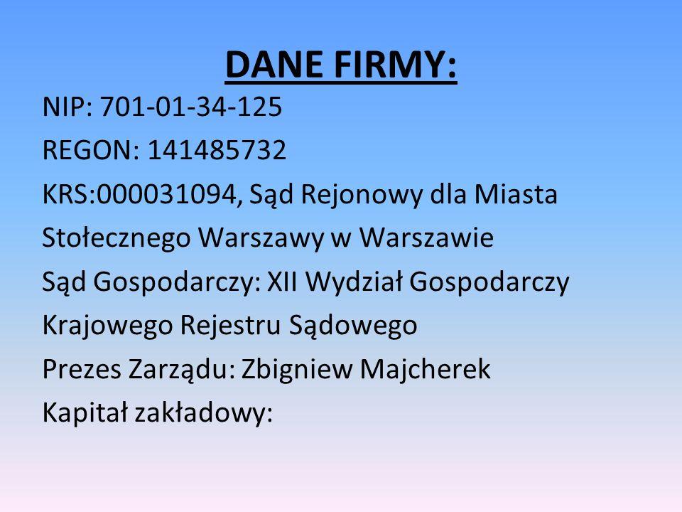 DANE FIRMY: NIP: 701-01-34-125 REGON: 141485732 KRS:000031094, Sąd Rejonowy dla Miasta Stołecznego Warszawy w Warszawie Sąd Gospodarczy: XII Wydział G