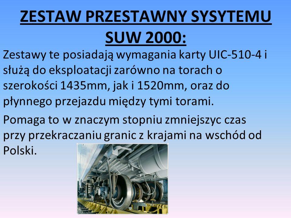 ZESTAW PRZESTAWNY SYSYTEMU SUW 2000: Zestawy te posiadają wymagania karty UIC-510-4 i służą do eksploatacji zarówno na torach o szerokości 1435mm, jak i 1520mm, oraz do płynnego przejazdu między tymi torami.