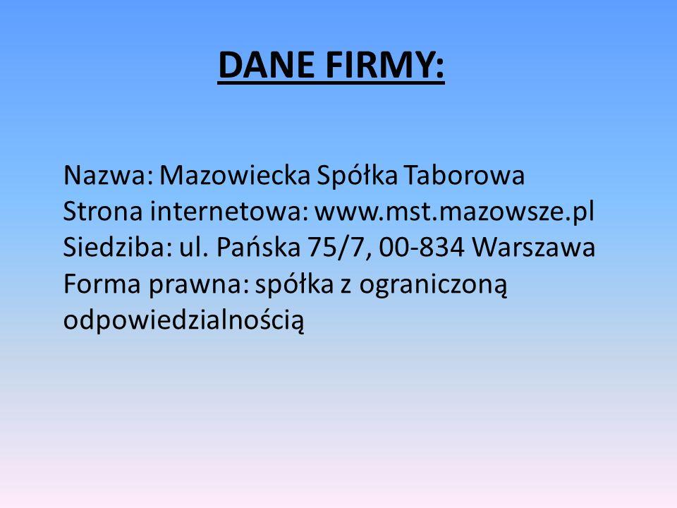 Nazwa: Mazowiecka Spółka Taborowa Strona internetowa: www.mst.mazowsze.pl Siedziba: ul. Pańska 75/7, 00-834 Warszawa Forma prawna: spółka z ograniczon