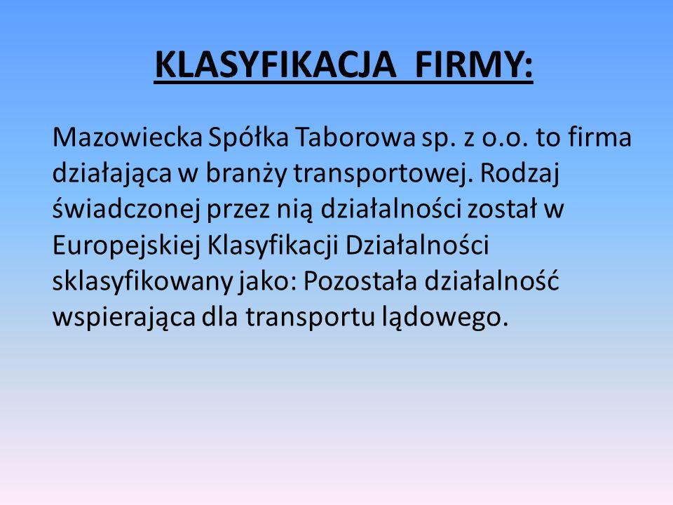Mazowiecka Spółka Taborowa sp. z o.o. to firma działająca w branży transportowej. Rodzaj świadczonej przez nią działalności został w Europejskiej Klas