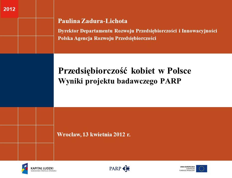2012 Przedsiębiorczość kobiet w Polsce Wyniki projektu badawczego PARP Paulina Zadura-Lichota Dyrektor Departamentu Rozwoju Przedsiębiorczości i Innow
