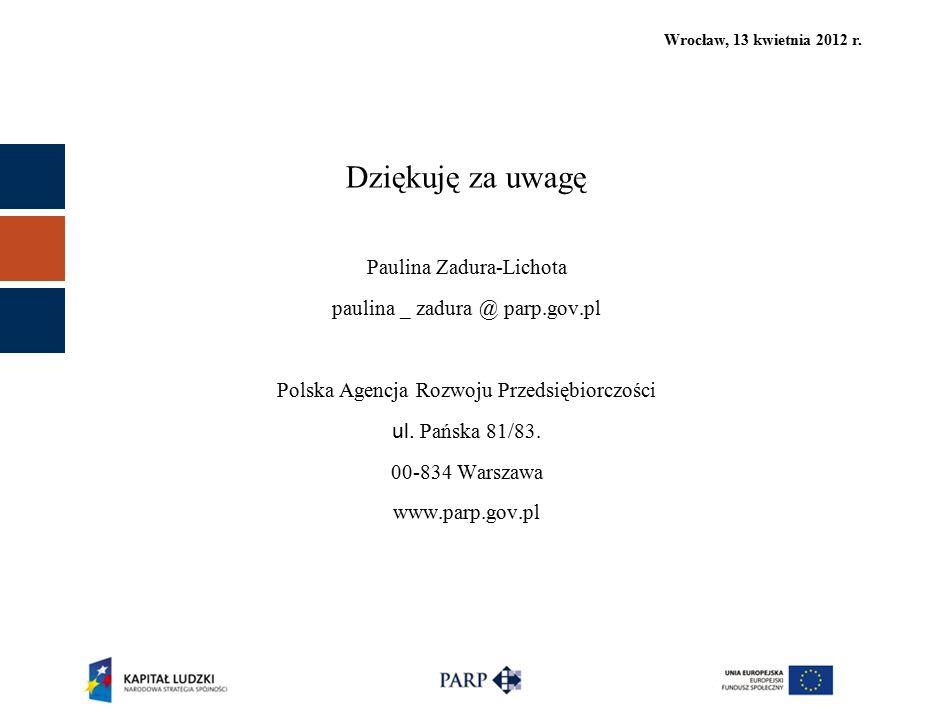 Wrocław, 13 kwietnia 2012 r. Dziękuję za uwagę Paulina Zadura-Lichota paulina _ zadura @ parp.gov.pl Polska Agencja Rozwoju Przedsiębiorczości ul. Pań