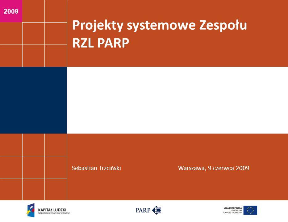 2009 Projekty systemowe Zespołu RZL PARP Sebastian Trzci ń skiWarszawa, 9 czerwca 2009