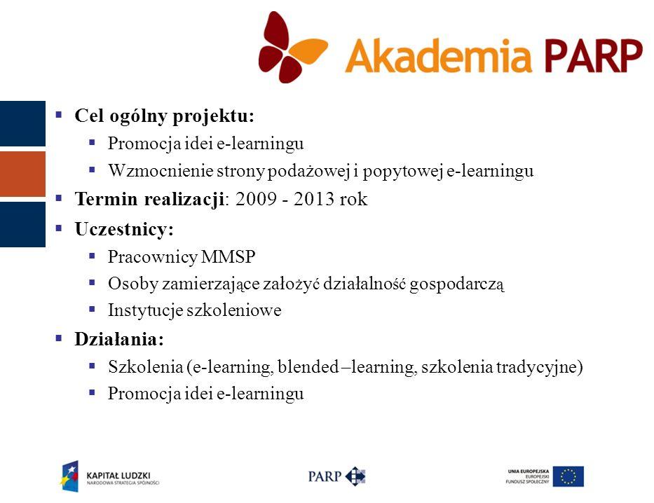  Cel ogólny projektu:  Promocja idei e-learningu  Wzmocnienie strony podażowej i popytowej e-learningu  Termin realizacji: 2009 - 2013 rok  Uczes