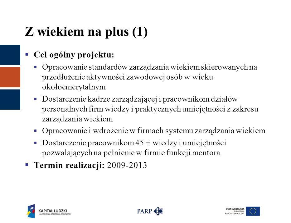 Z wiekiem na plus (1)  Cel ogólny projektu:  Opracowanie standardów zarządzania wiekiem skierowanych na przedłu ż enie aktywności zawodowej osób w w