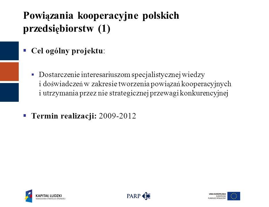 Powi ą zania kooperacyjne polskich przedsi ę biorstw (1)  Cel ogólny projektu:  Dostarczenie interesariuszom specjalistycznej wiedzy i do ś wiadcze