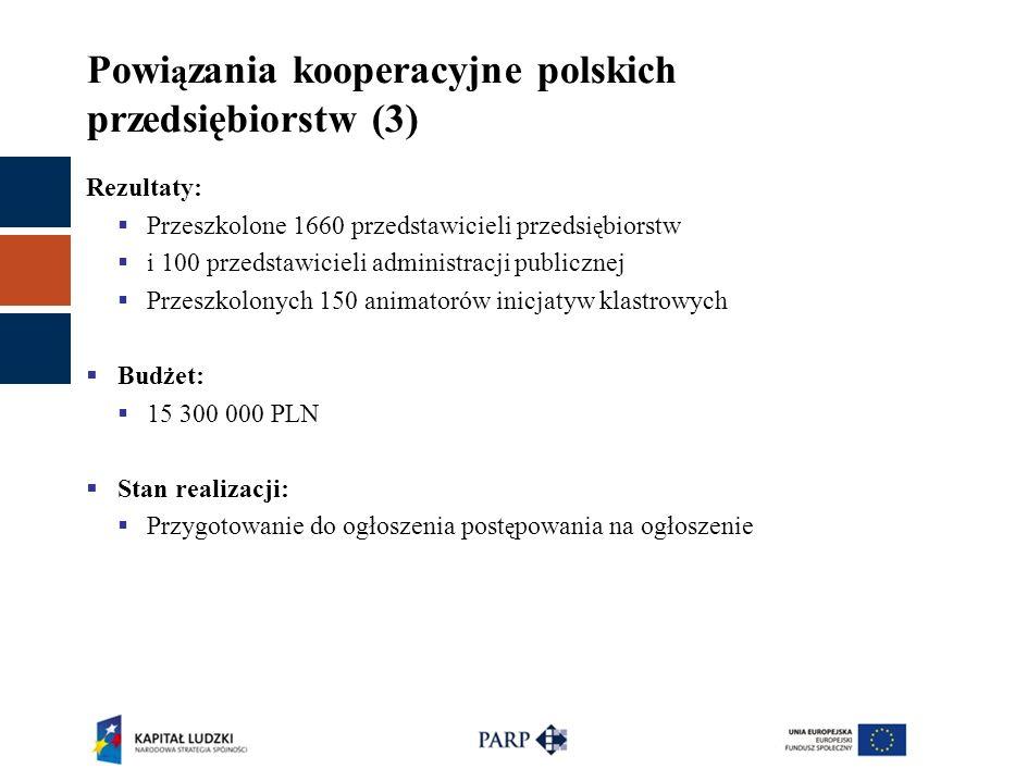 Powi ą zania kooperacyjne polskich przedsiębiorstw (3) Rezultaty:  Przeszkolone 1660 przedstawicieli przedsi ę biorstw  i 100 przedstawicieli admini