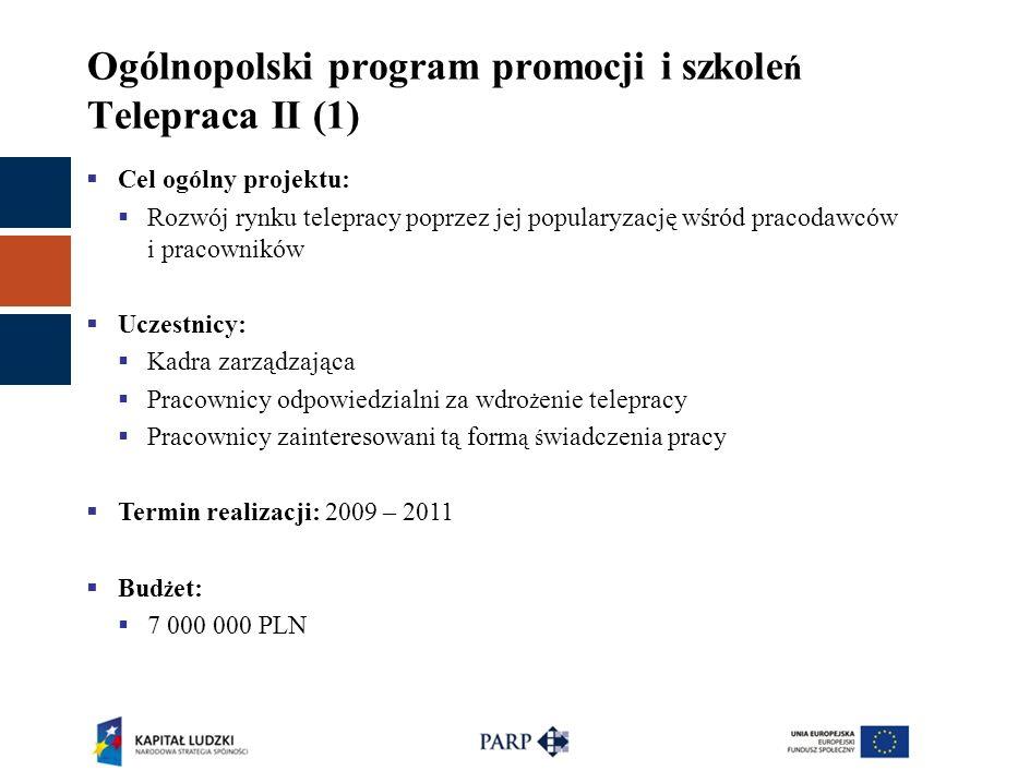 Ogólnopolski program promocji i szkole ń Telepraca II (1)  Cel ogólny projektu:  Rozwój rynku telepracy poprzez jej popularyzację wśród pracodawców