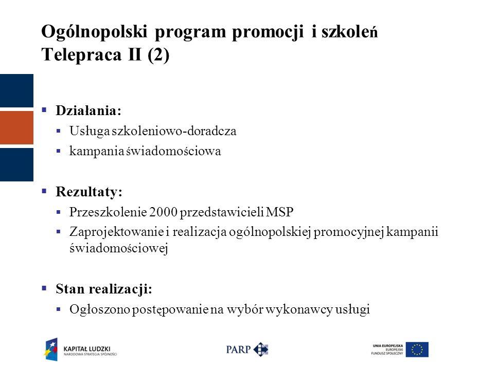 Ogólnopolski program promocji i szkole ń Telepraca II (2)  Działania:  Usługa szkoleniowo-doradcza  kampania ś wiadomo ś ciowa  Rezultaty:  Przes