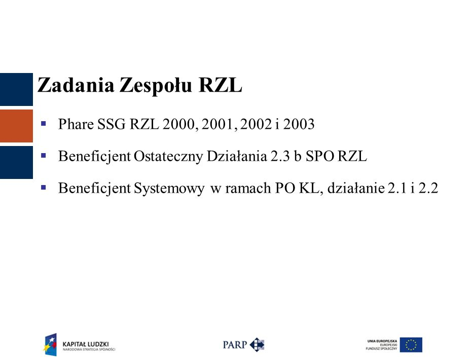 Zadania Zespołu RZL  Phare SSG RZL 2000, 2001, 2002 i 2003  Beneficjent Ostateczny Działania 2.3 b SPO RZL  Beneficjent Systemowy w ramach PO KL, d