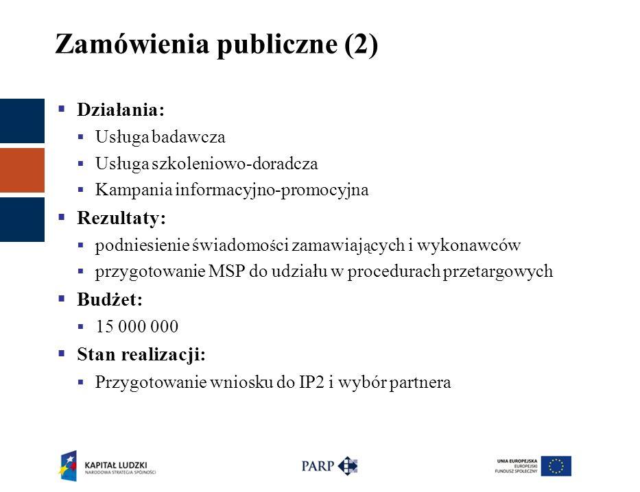 Zamówienia publiczne (2)  Działania:  Usługa badawcza  Usługa szkoleniowo-doradcza  Kampania informacyjno-promocyjna  Rezultaty:  podniesienie ś