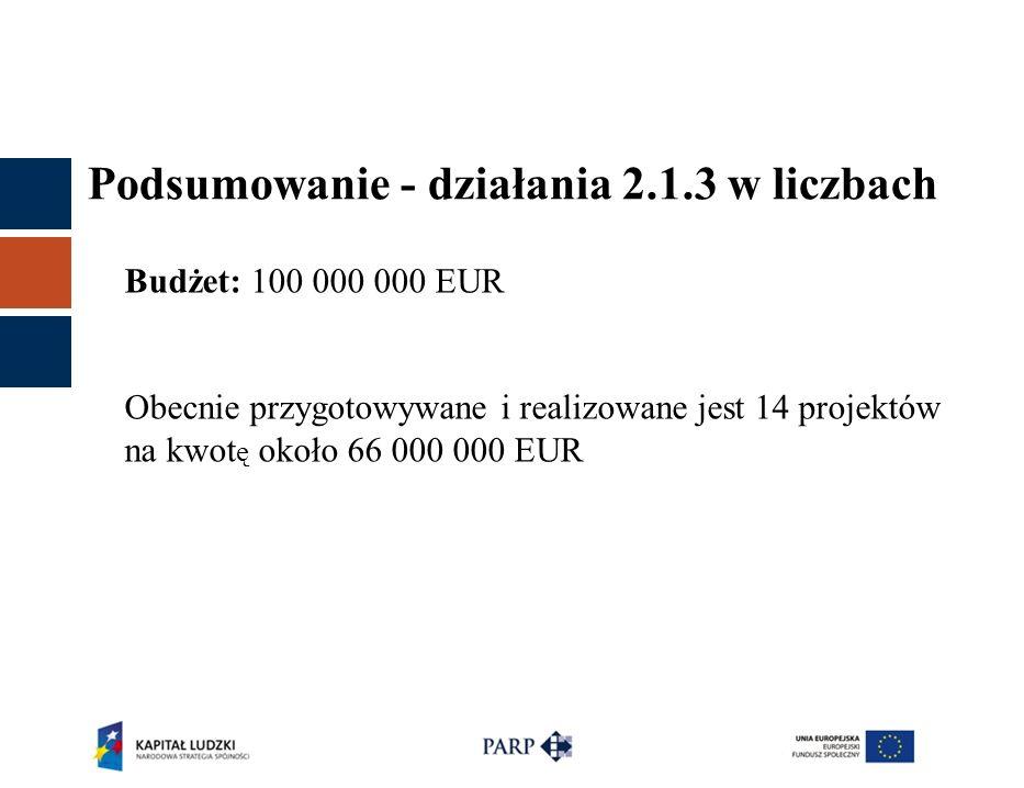 Podsumowanie - działania 2.1.3 w liczbach Budżet: 100 000 000 EUR Obecnie przygotowywane i realizowane jest 14 projektów na kwot ę około 66 000 000 EU
