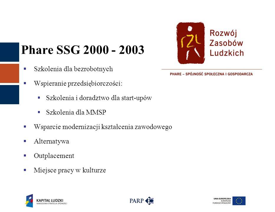 Phare SSG 2000 - 2003  Szkolenia dla bezrobotnych  Wspieranie przedsi ę biorczości:  Szkolenia i doradztwo dla start-upów  Szkolenia dla MMSP  Ws