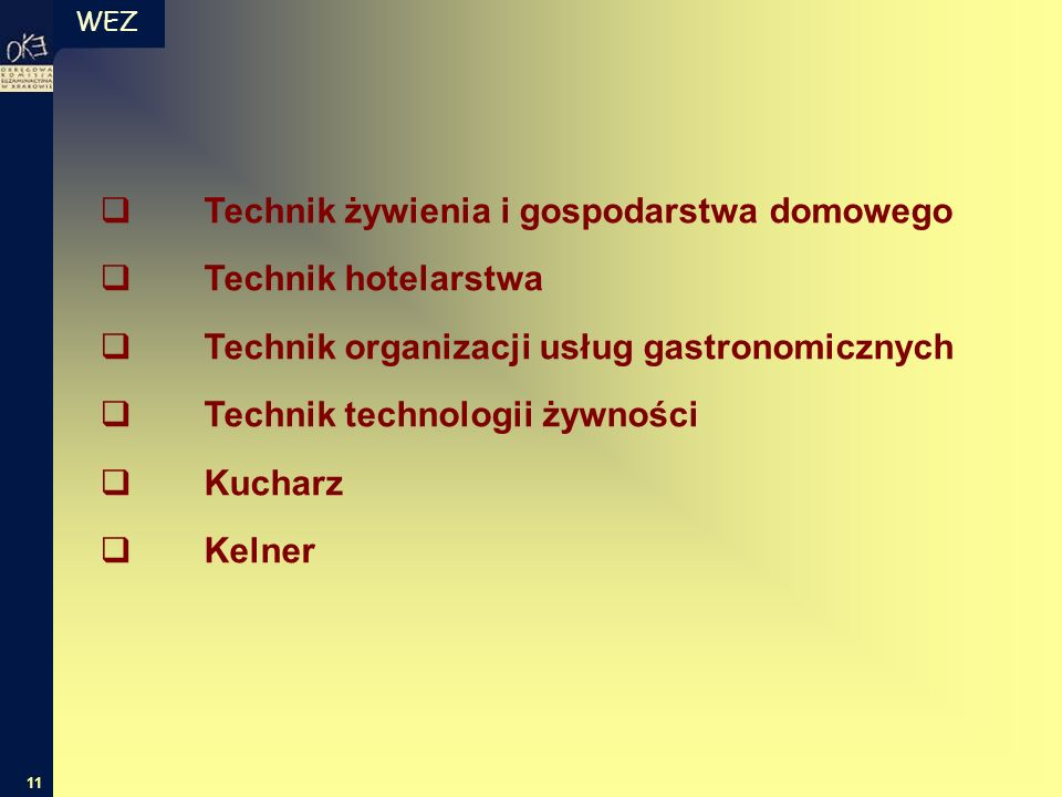 WEZ 11  Technik żywienia i gospodarstwa domowego  Technik hotelarstwa  Technik organizacji usług gastronomicznych  Technik technologii żywności  Kucharz  Kelner