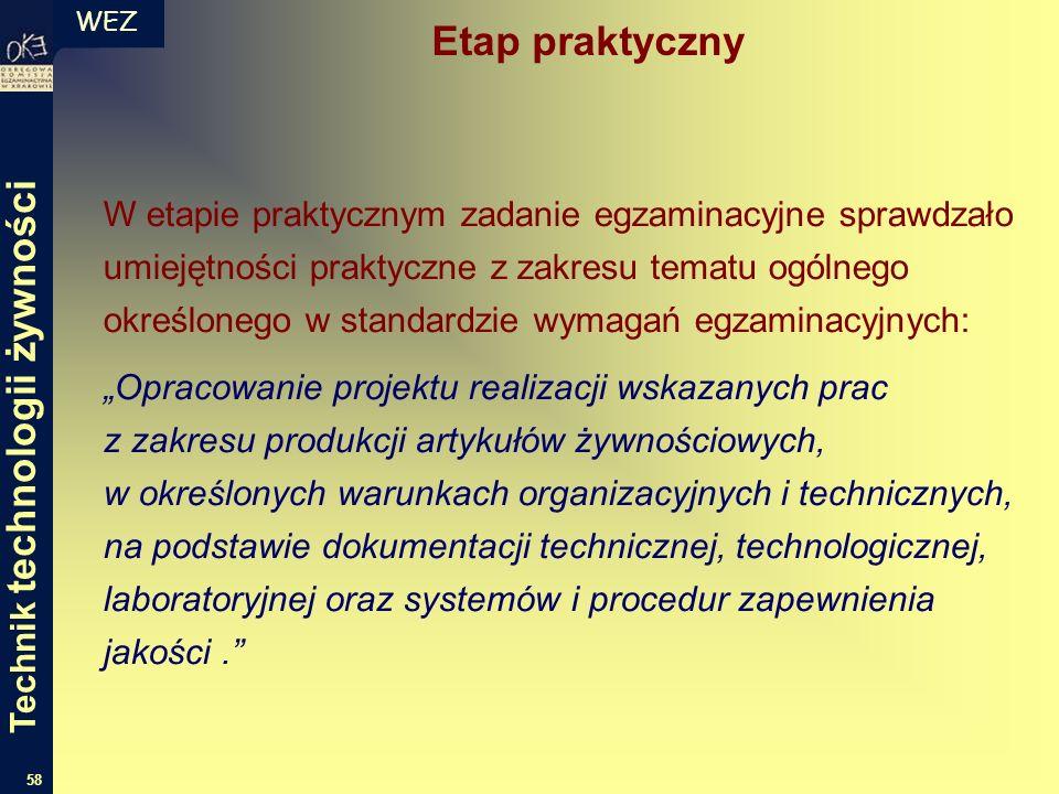 WEZ 58 W etapie praktycznym zadanie egzaminacyjne sprawdzało umiejętności praktyczne z zakresu tematu ogólnego określonego w standardzie wymagań egzam