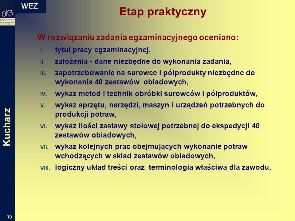 WEZ 70 W rozwiązaniu zadania egzaminacyjnego oceniano: I.