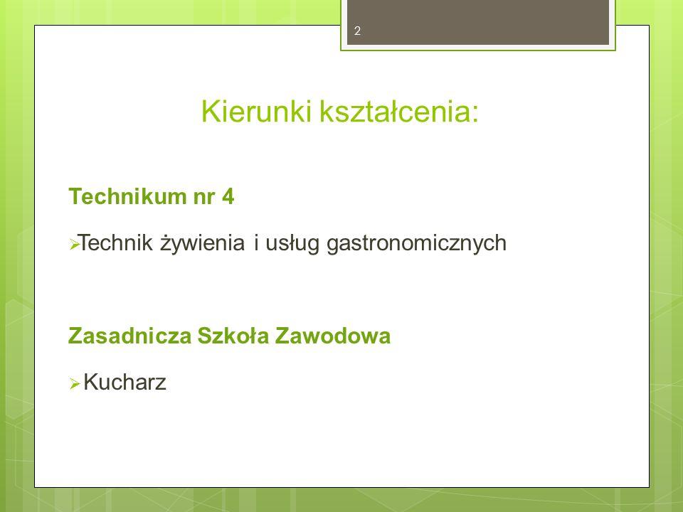 Kierunki kształcenia: Technikum nr 4  Technik żywienia i usług gastronomicznych Zasadnicza Szkoła Zawodowa  Kucharz 2
