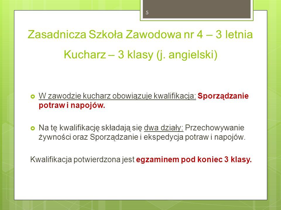 Zasadnicza Szkoła Zawodowa nr 4 – 3 letnia Kucharz – 3 klasy (j.