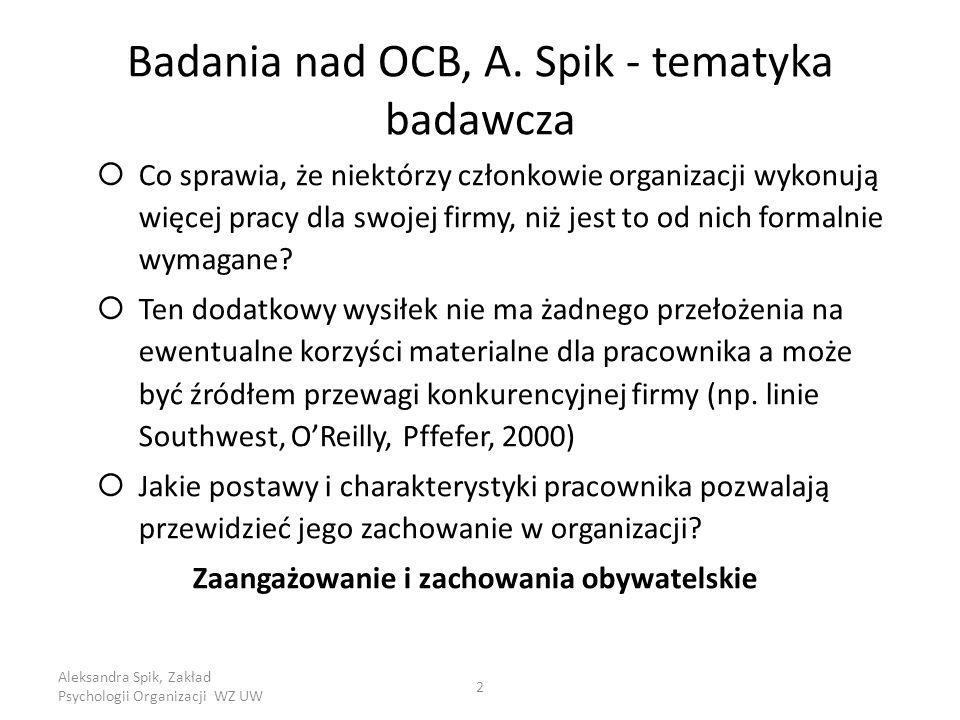 Aleksandra Spik, Zakład Psychologii Organizacji WZ UW 2 Badania nad OCB, A.