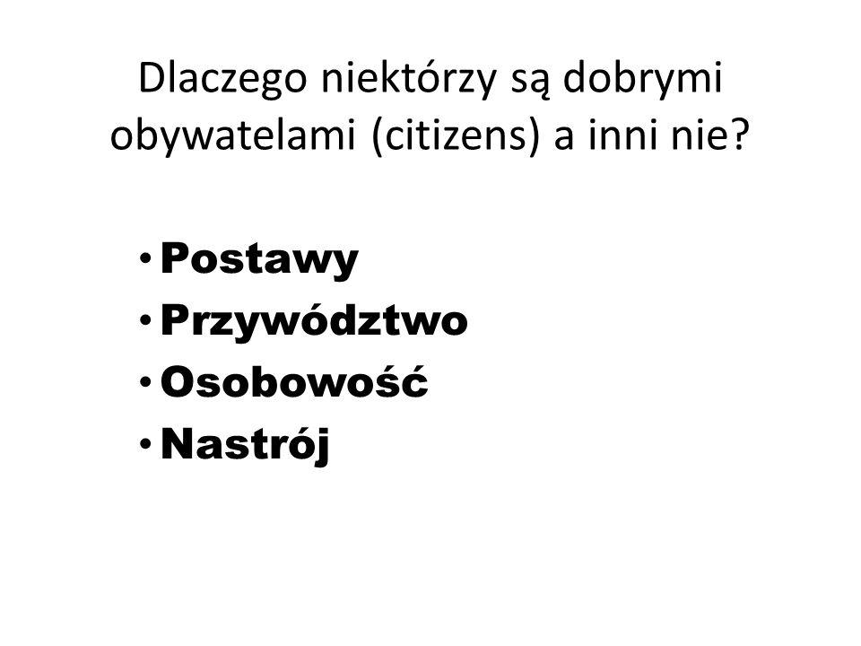 Dlaczego niektórzy są dobrymi obywatelami (citizens) a inni nie.