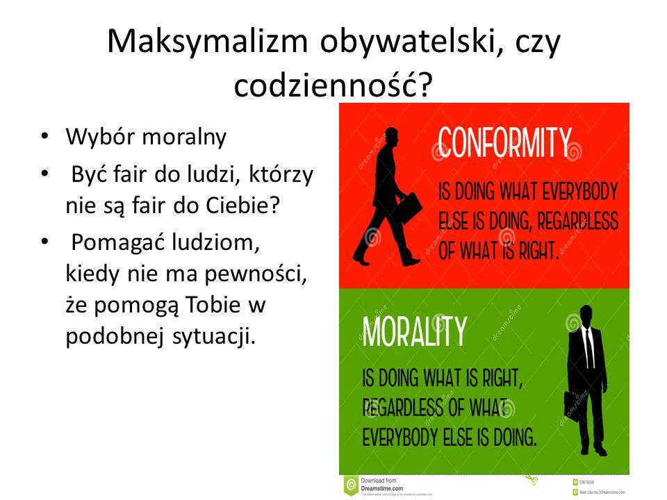 Maksymalizm obywatelski, czy codzienność.