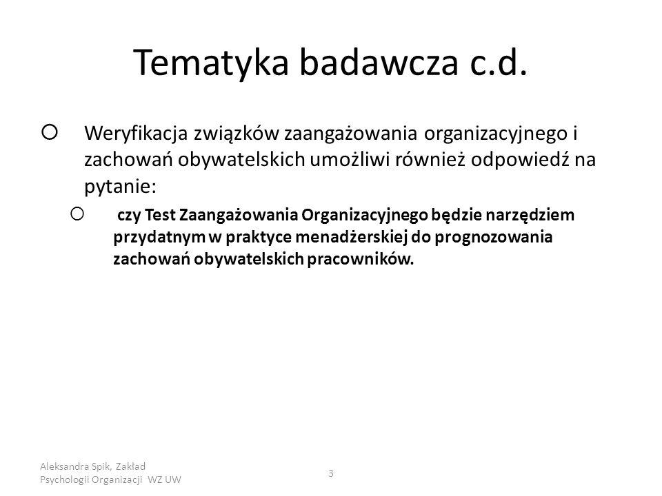 Aleksandra Spik, Zakład Psychologii Organizacji WZ UW 3 Tematyka badawcza c.d.