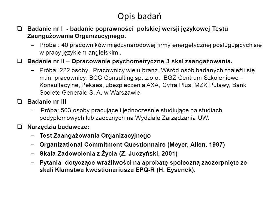 Opis badań  Badanie nr I - badanie poprawności polskiej wersji językowej Testu Zaangażowania Organizacyjnego.