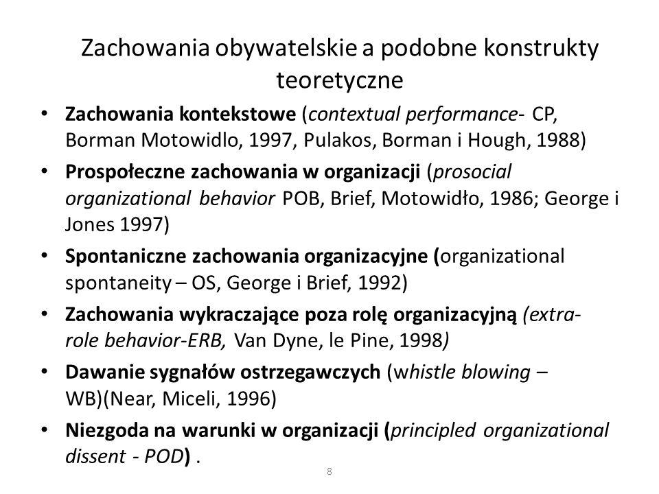 8 Zachowania obywatelskie a podobne konstrukty teoretyczne Zachowania kontekstowe (contextual performance- CP, Borman Motowidlo, 1997, Pulakos, Borman i Hough, 1988) Prospołeczne zachowania w organizacji (prosocial organizational behavior POB, Brief, Motowidło, 1986; George i Jones 1997) Spontaniczne zachowania organizacyjne (organizational spontaneity – OS, George i Brief, 1992) Zachowania wykraczające poza rolę organizacyjną (extra- role behavior-ERB, Van Dyne, le Pine, 1998) Dawanie sygnałów ostrzegawczych (whistle blowing – WB)(Near, Miceli, 1996) Niezgoda na warunki w organizacji (principled organizational dissent - POD).