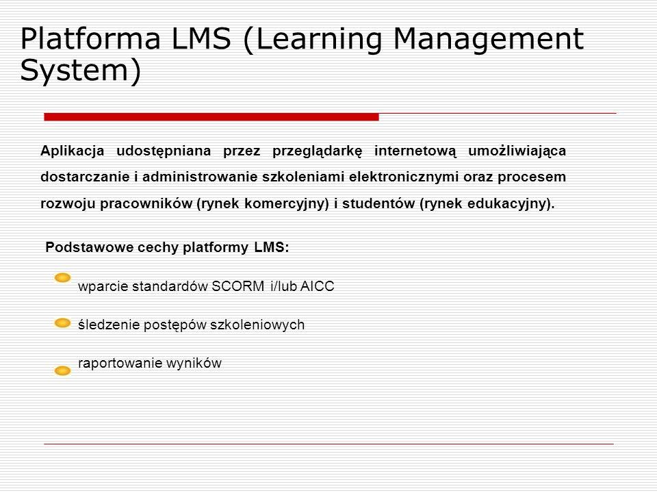 Platforma LMS (Learning Management System) Aplikacja udostępniana przez przeglądarkę internetową umożliwiająca dostarczanie i administrowanie szkoleniami elektronicznymi oraz procesem rozwoju pracowników (rynek komercyjny) i studentów (rynek edukacyjny).