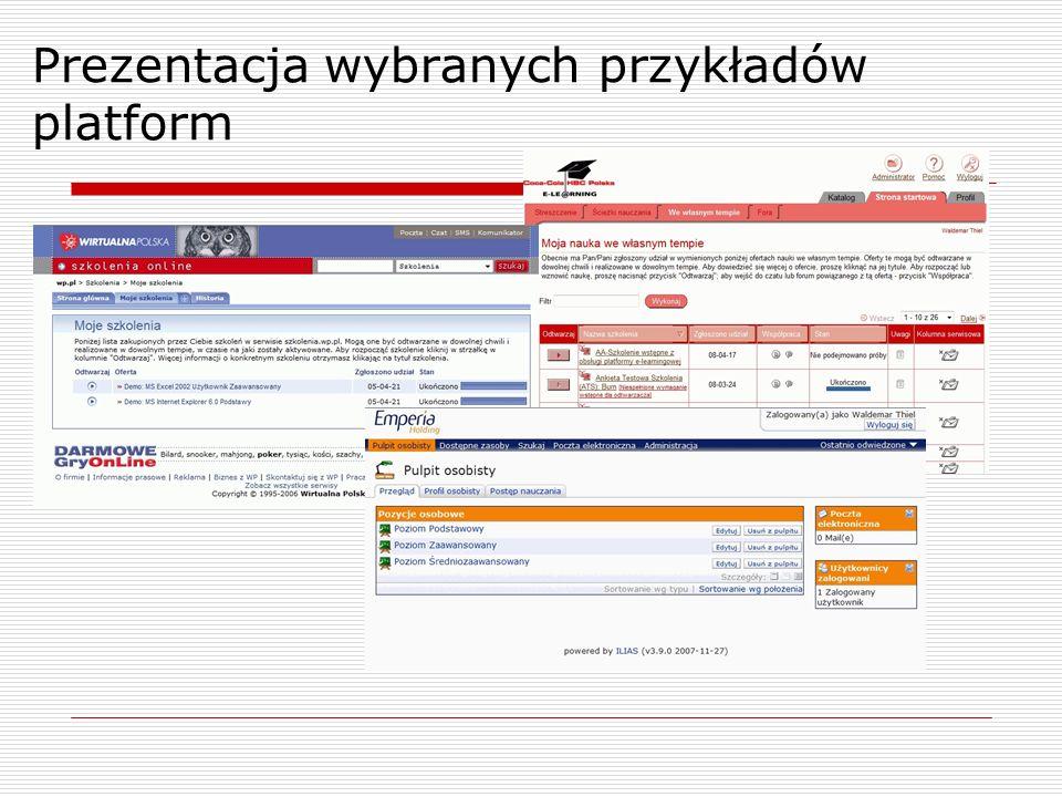 Prezentacja wybranych przykładów platform