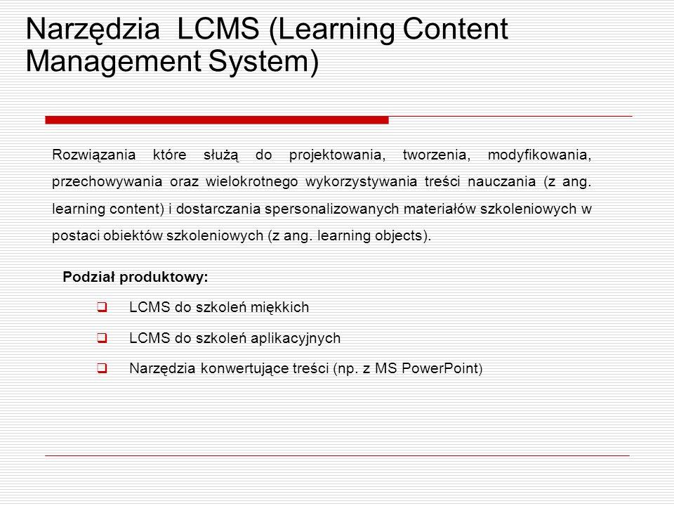 Narzędzia LCMS (Learning Content Management System) Rozwiązania które służą do projektowania, tworzenia, modyfikowania, przechowywania oraz wielokrotnego wykorzystywania treści nauczania (z ang.
