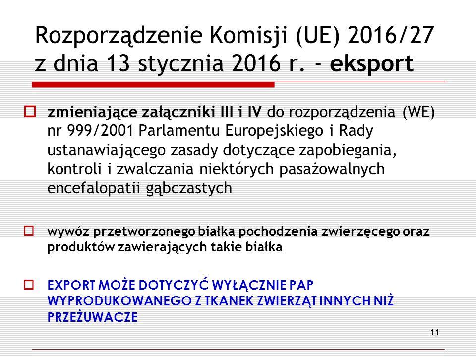 Rozporządzenie Komisji (UE) 2016/27 z dnia 13 stycznia 2016 r.