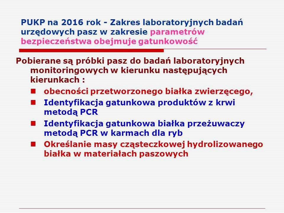 PUKP na 2016 rok - Zakres laboratoryjnych badań urzędowych pasz w zakresie parametrów bezpieczeństwa obejmuje gatunkowość Pobierane są próbki pasz do badań laboratoryjnych monitoringowych w kierunku następujących kierunkach : obecności przetworzonego białka zwierzęcego, Identyfikacja gatunkowa produktów z krwi metodą PCR Identyfikacja gatunkowa białka przeżuwaczy metodą PCR w karmach dla ryb Określanie masy cząsteczkowej hydrolizowanego białka w materiałach paszowych