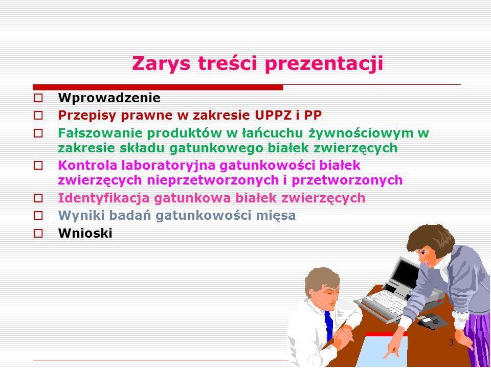 Zarys treści prezentacji  Wprowadzenie  Przepisy prawne w zakresie UPPZ i PP  Fałszowanie produktów w łańcuchu żywnościowym w zakresie składu gatunkowego białek zwierzęcych  Kontrola laboratoryjna gatunkowości białek zwierzęcych nieprzetworzonych i przetworzonych  Identyfikacja gatunkowa białek zwierzęcych  Wyniki badań gatunkowości mięsa  Wnioski 3