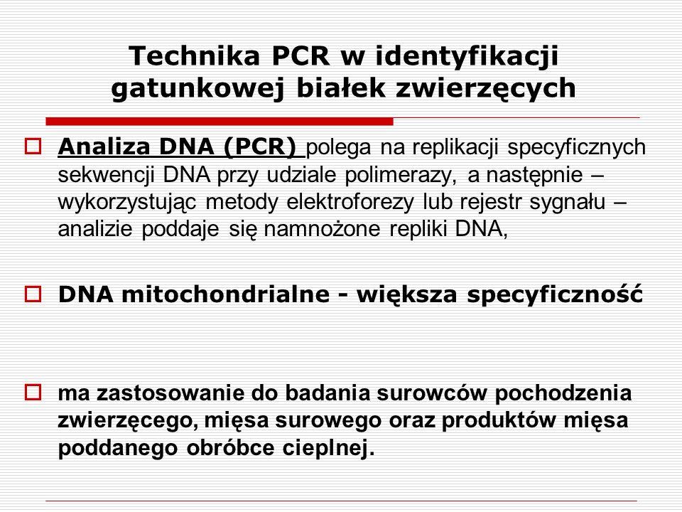  Analiza DNA (PCR) polega na replikacji specyficznych sekwencji DNA przy udziale polimerazy, a następnie – wykorzystując metody elektroforezy lub rejestr sygnału – analizie poddaje się namnożone repliki DNA,  DNA mitochondrialne - większa specyficzność  ma zastosowanie do badania surowców pochodzenia zwierzęcego, mięsa surowego oraz produktów mięsa poddanego obróbce cieplnej.