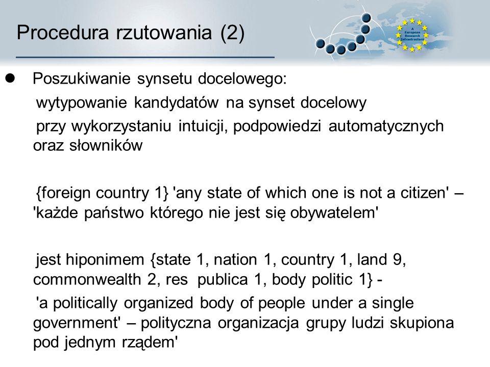 Procedura rzutowania (2) Poszukiwanie synsetu docelowego: wytypowanie kandydatów na synset docelowy przy wykorzystaniu intuicji, podpowiedzi automatycznych oraz słowników {foreign country 1} any state of which one is not a citizen – każde państwo którego nie jest się obywatelem jest hiponimem {state 1, nation 1, country 1, land 9, commonwealth 2, res publica 1, body politic 1} - a politically organized body of people under a single government – polityczna organizacja grupy ludzi skupiona pod jednym rządem