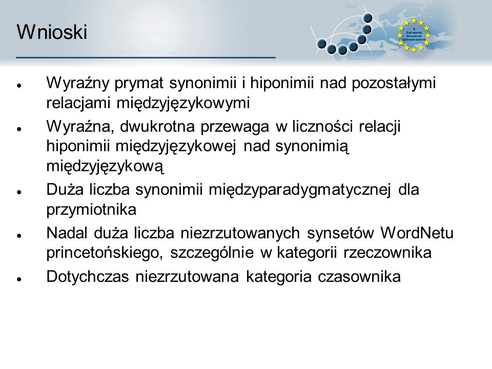 Wnioski Wyraźny prymat synonimii i hiponimii nad pozostałymi relacjami międzyjęzykowymi Wyraźna, dwukrotna przewaga w liczności relacji hiponimii międzyjęzykowej nad synonimią międzyjęzykową Duża liczba synonimii międzyparadygmatycznej dla przymiotnika Nadal duża liczba niezrzutowanych synsetów WordNetu princetońskiego, szczególnie w kategorii rzeczownika Dotychczas niezrzutowana kategoria czasownika