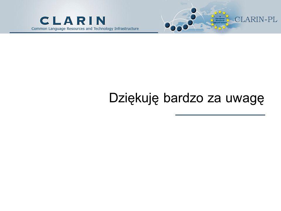 CLARIN-PL Dziękuję bardzo za uwagę