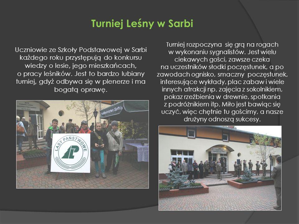Turniej Leśny w Sarbi Uczniowie ze Szkoły Podstawowej w Sarbi każdego roku przystępują do konkursu wiedzy o lesie, jego mieszkańcach, o pracy leśników.