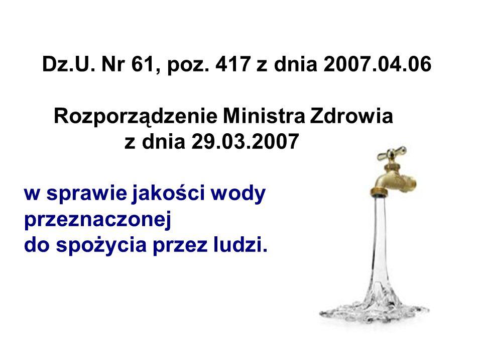 Wymagania co do jakości wody pitnej Rozporządzenie Ministra Środowiska z dnia 11 lutego 2004 r.