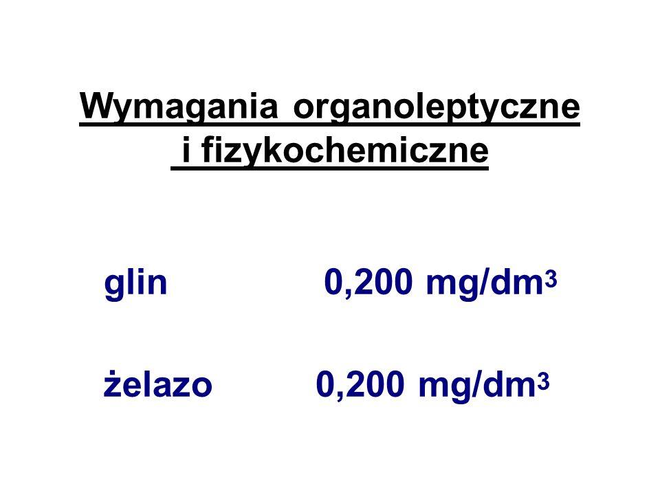 Wymagania organoleptyczne i fizykochemiczne azotany 50 mg/dm 3 chlorki 250 mg/dm 3 chlor wolny 0,3 mg/dm 3 ozon 0,05 mg/dm 3